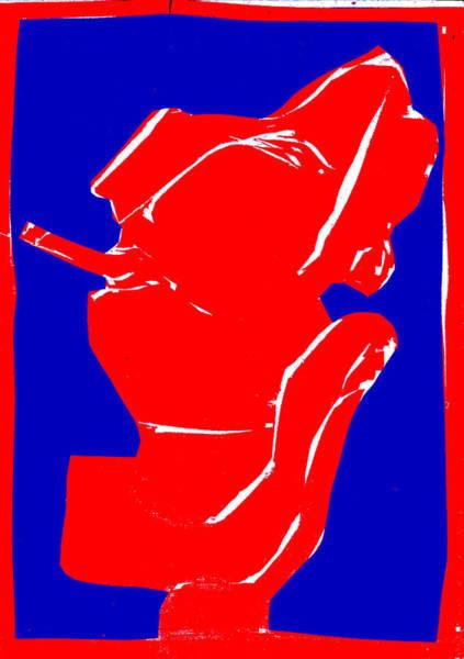 Digital Art - Blue And Red Series - Smoker Smoking by Artist Dot