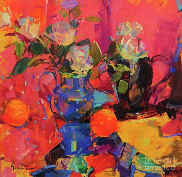 Wall Art - Painting - Blue And Rose by Peter Graham