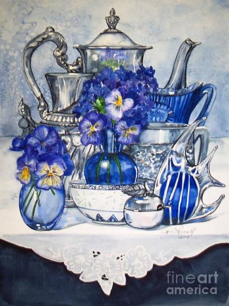 Painting - Blue And Silver by Jane Loveall