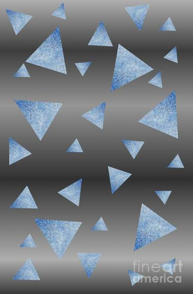Mixed Media - Blue And Steel Triangle Abstract by Rachel Hannah