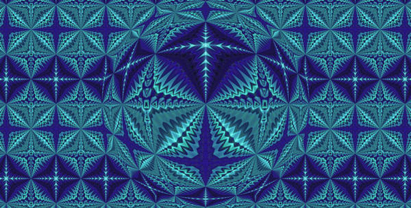 Digital Art - Blue And Turquoise Symmetrical Pattern, Kaleidoscope by Ernst Dittmar