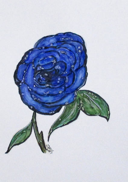 Painting - Blue And Wet, Rose by Clyde J Kell