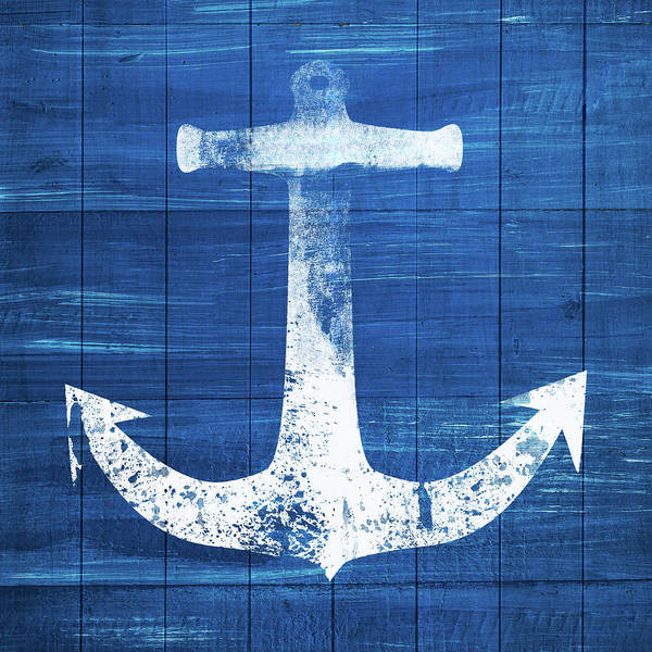 Blue And White Wall Art - Mixed Media - Blue And White Anchor- Art By Linda Woods by Linda Woods