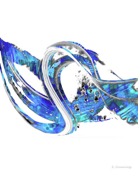 Sharp Painting - Blue And White Art - Wave 1 - Sharon Cummings by Sharon Cummings