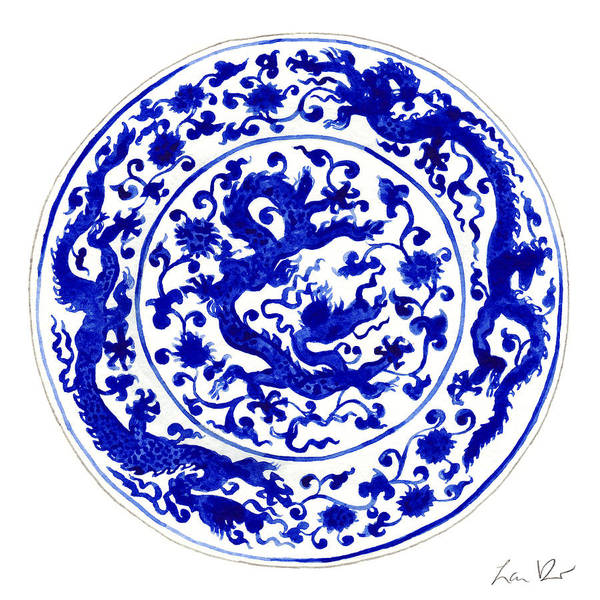 Wall Art - Painting - Blue And White Chinese Chinoiserie Plate 1 by Laura Row