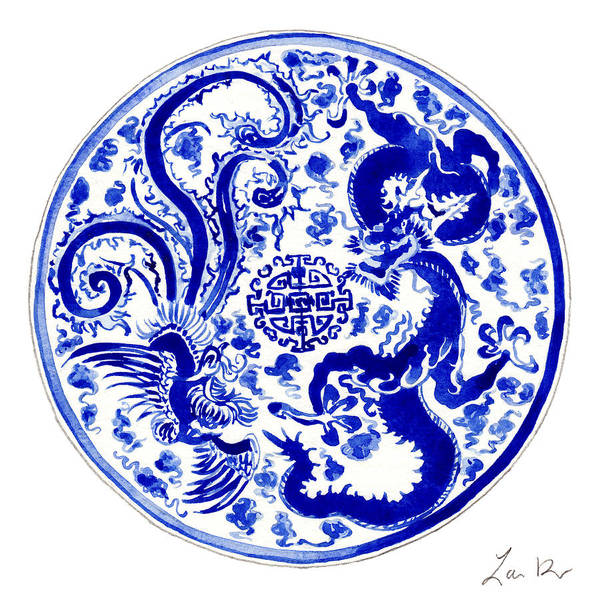 Wall Art - Painting - Blue And White Chinese Chinoiserie Plate 3 by Laura Row