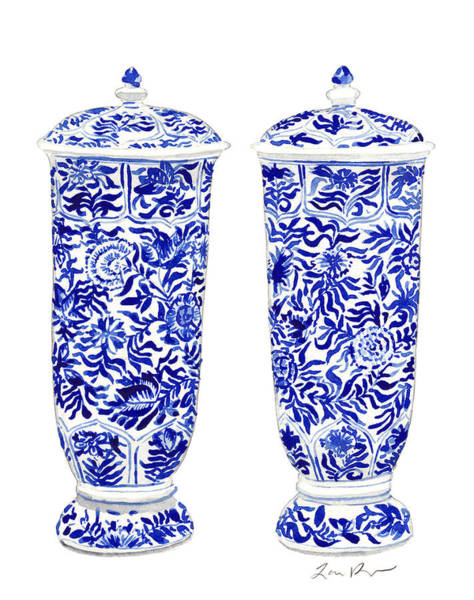 Wall Art - Painting - Blue And White Chinoiserie Vases by Laura Row