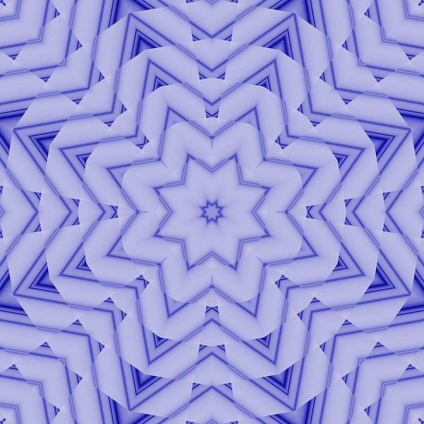 Digital Art - Blue And White Fractal Star by Ruth Moratz