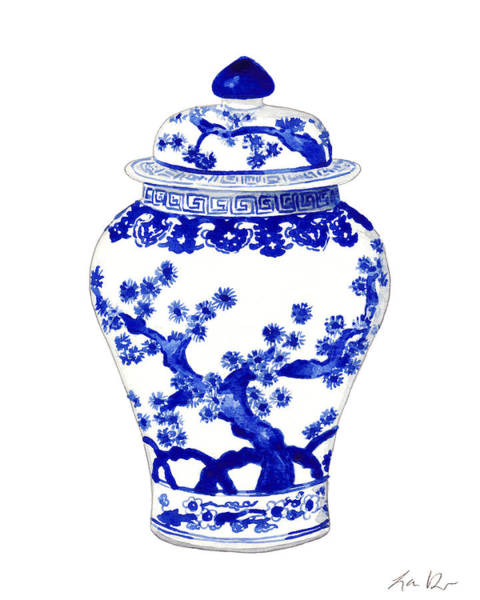Pine Trees Painting - Blue And White Ginger Jar Chinoiserie 10 by Laura Row
