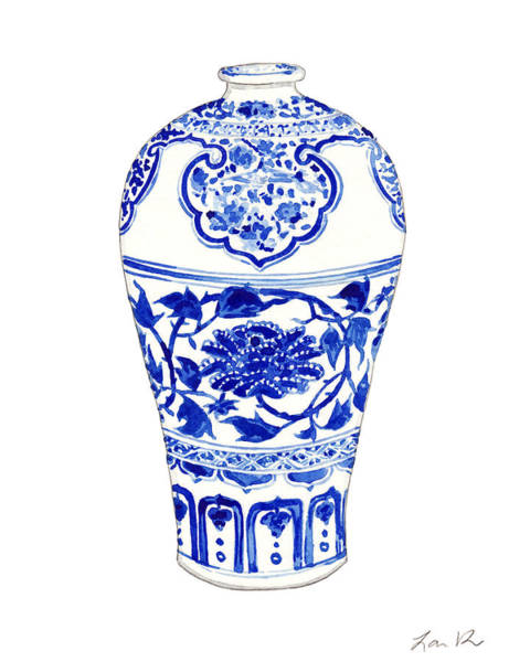 Birds And Flowers Painting - Blue And White Ginger Jar Chinoiserie 3 by Laura Row