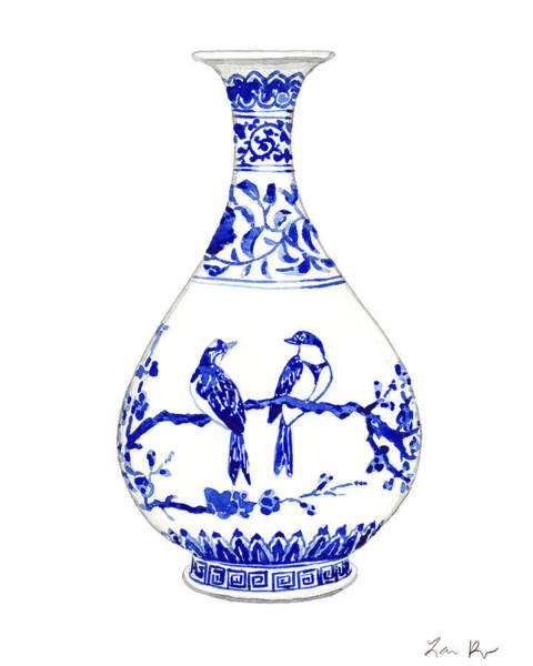 Ming Tree Painting - Blue And White Ginger Jar Chinoiserie 7 by Laura Row