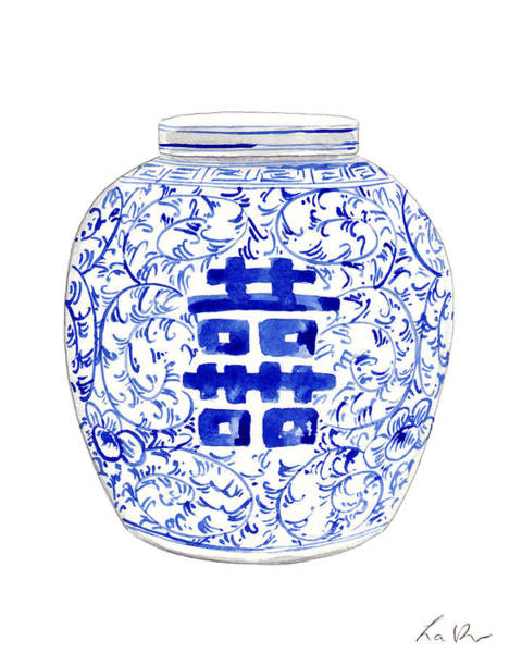 Wall Art - Painting - Blue And White Ginger Jar Chinoiserie 8 by Laura Row