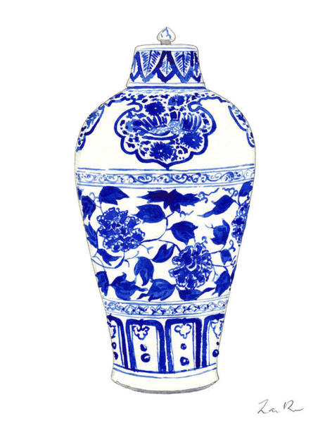 Birds And Flowers Painting - Blue And White Ginger Jar Chinoiserie Jar 1 by Laura Row