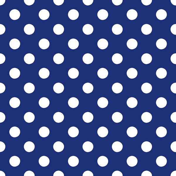 Wall Art - Mixed Media - Blue And White Polka Dots- Art By Linda Woods by Linda Woods