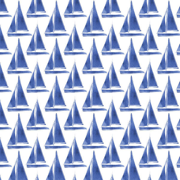 Color Mixed Media - Blue And White Sailboats Pattern- Art By Linda Woods by Linda Woods