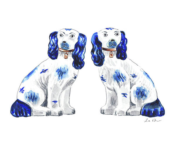 Wall Art - Painting - Blue And White Staffordshire Dogs Art Spaniel Art Print Porcelain Chinoiserie Art Ginger Jar Art Dog by Laura Row