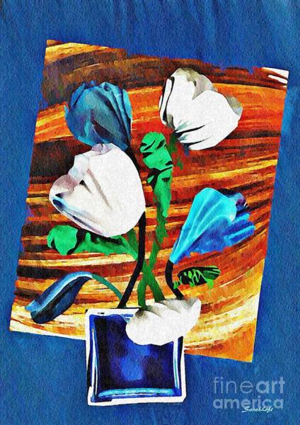 Tulips Mixed Media - Blue And White Tulips by Sarah Loft