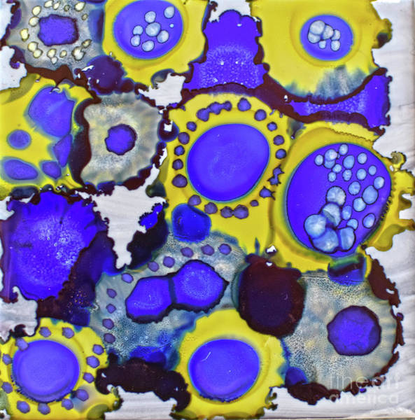 Painting - Blue And Yellow Circles Of Fun by Christine Dekkers