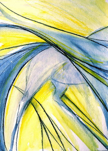 Espanola Mixed Media - Blue And Yellow Expression by Jennifer Fosgate