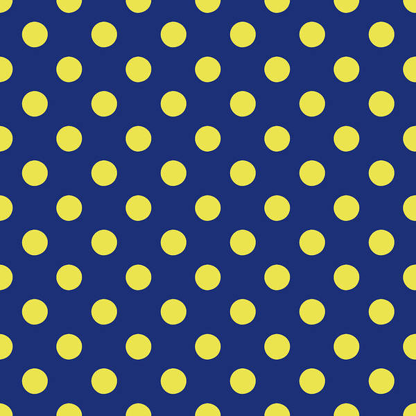 Wall Art - Mixed Media - Blue And Yellow Polka Dots- Art By Linda Woods by Linda Woods