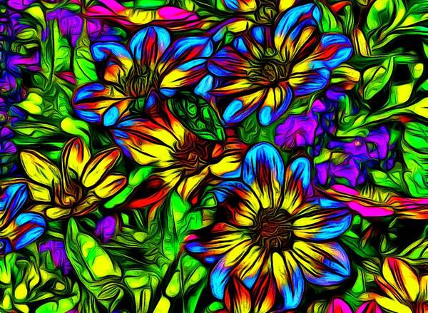 Abstrait Digital Art - Blue And Yellow Wildflowers by Jean-Marc Lacombe