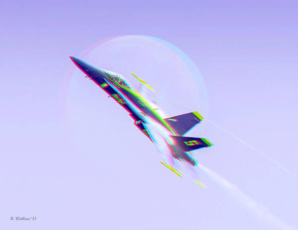 Anaglyph Photograph - Blue Angel - Blue Moon - Use 3d Glasses by Brian Wallace