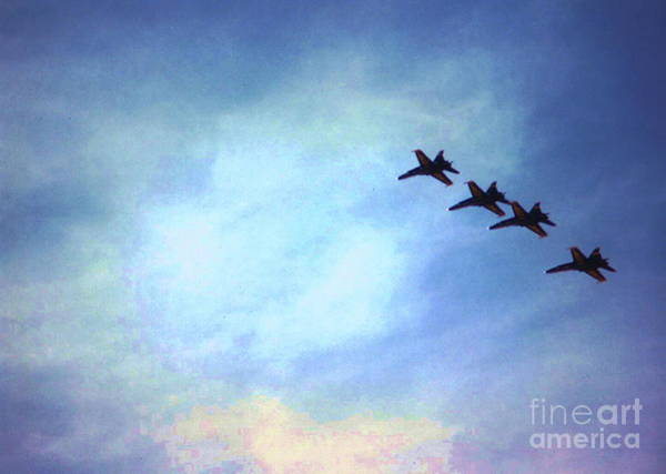 Photograph - Blue Angels In Flight Formation by Stanley Morganstein