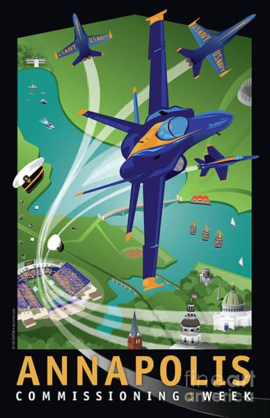 A-18 Hornet Wall Art - Digital Art - Blue Angels Over Annapolis Usna by Joe Barsin