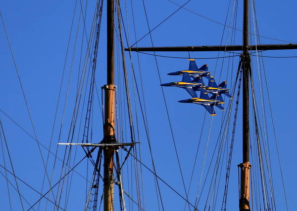 Photograph - Blue Angels Pass Behind Masts Of The Balclutha At Hyde Street Pier by John King
