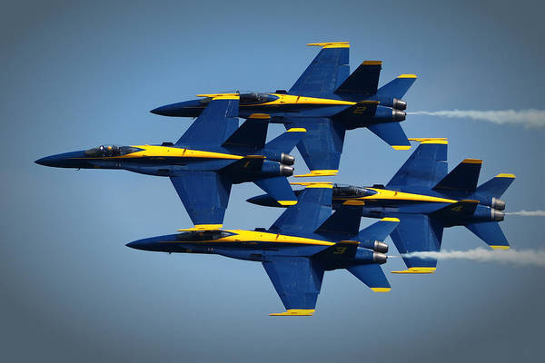 Photograph - Blue Angels Diamond Formation Over Ocean City Md by Bill Swartwout Photography