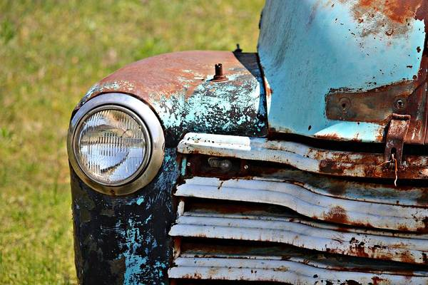 Wall Art - Photograph - Blue Antique Chevy Grill- Fine Art by KayeCee Spain