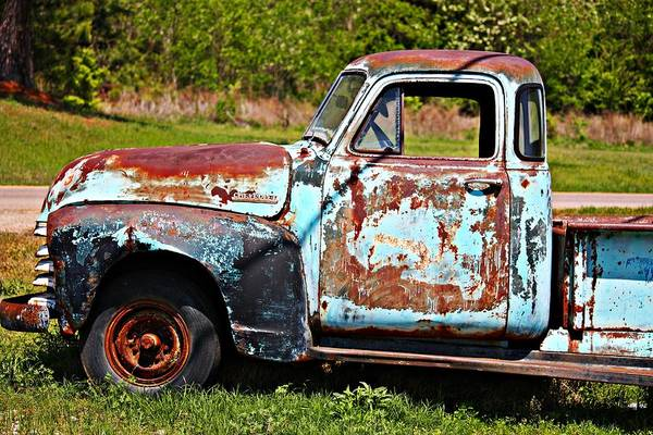 Wall Art - Photograph - Blue Antique Chevy Truck- Fine Art by KayeCee Spain