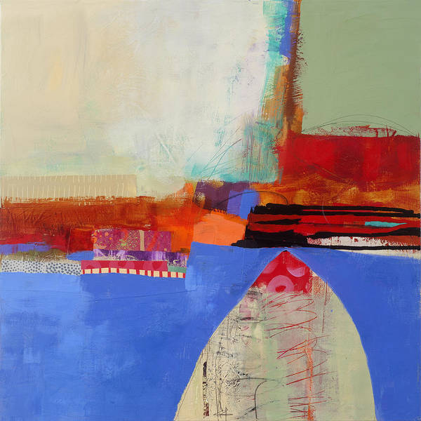 Abstract Acrylic Painting - Blue Arch by Jane Davies