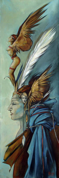 Ornament Painting - Blue Art Deco Indian Headdress Hood Ornamental by Jacque Hudson