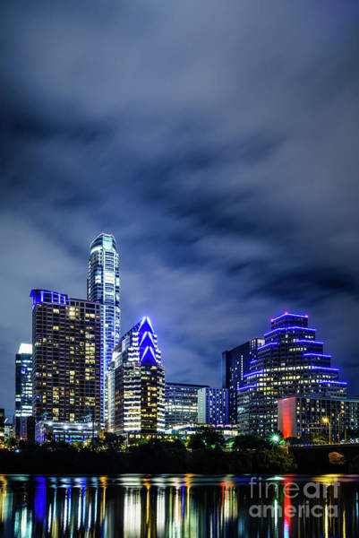 Wall Art - Photograph - Blue Austin Skyline At Night by Paul Velgos
