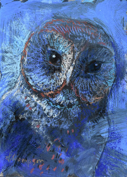 Barn Owl Painting - Blue Barn Owl by Tracie Thompson