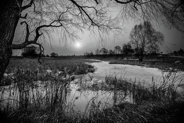 Frozen River Digital Art - Blue Bayou Bw by Michael Damiani
