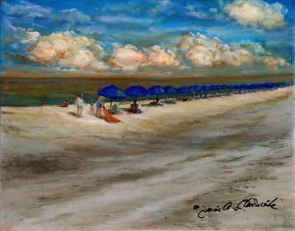 Captiva Island Painting - Blue Beach Umbrellas-captiva Island-florida by Jeanie Chadwick