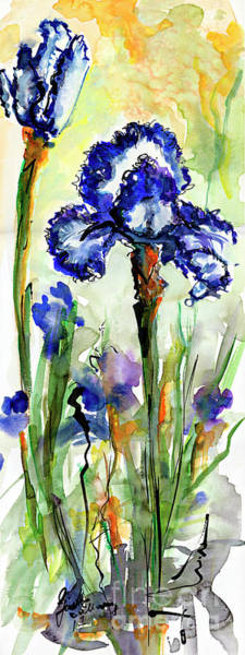 Painting - Blue Bearded Irises Watercolor by Ginette Callaway