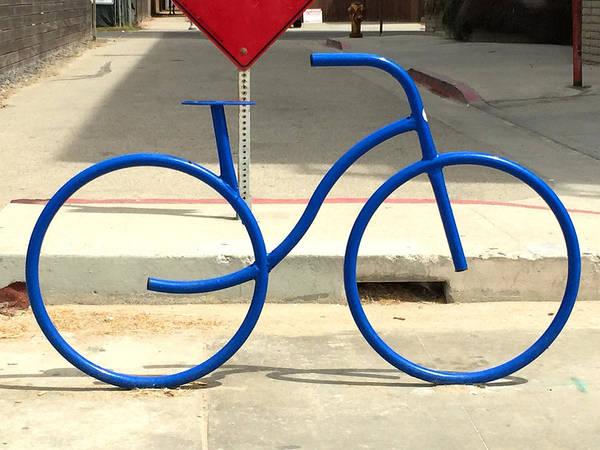 Wall Art - Photograph - Blue Bicycle Street Art by Nancy Merkle