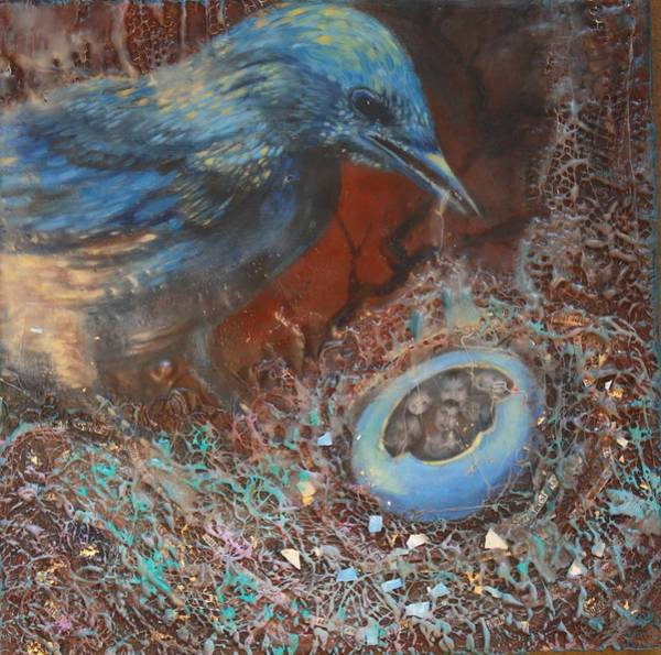 Transfer Mixed Media - Blue Bird Family Ties by Christine Wenderoth