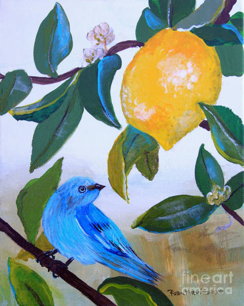 Painting - Blue Bird In Lemon Tree by Robin Maria Pedrero