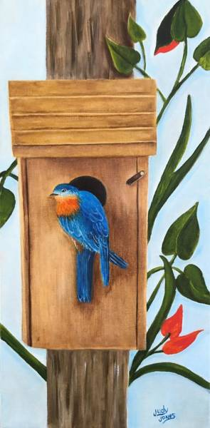 Wall Art - Painting - Blue Bird Of Happiness by Judy Jones