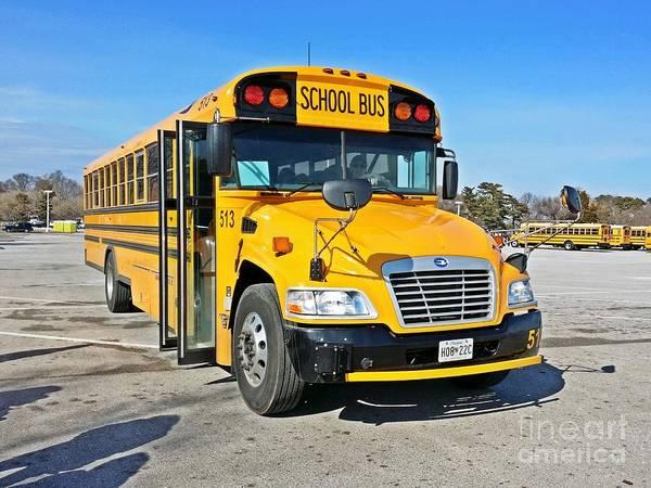 Sandy Point State Park Photograph - Blue Bird Vision School Bus by Ben Schumin