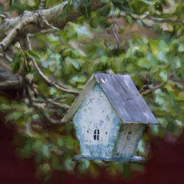 Hand Made Wall Art - Photograph - Blue Birdhouse Painterly Effect by Carol Leigh