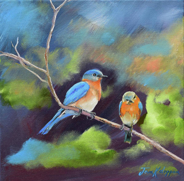 Painting - Blue Birds - Soul Mates by Jan Dappen