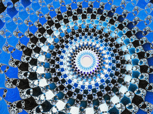 Photograph - Blue Black And White Abstract Spiral by Matthias Hauser