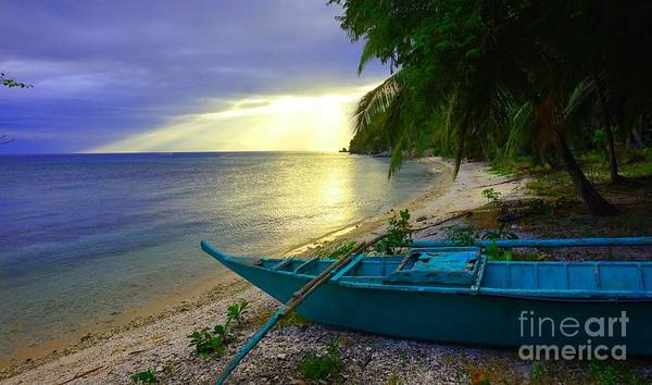 Photograph - Blue Boat And Sunset On Beach by Christopher Shellhammer