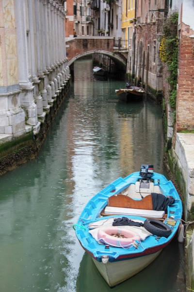 Photograph - Blue Boat In The Rain Venice Italy  by John McGraw