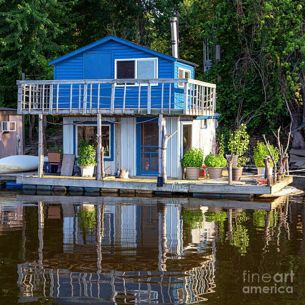 Photograph - Blue Boathouse Latsch Island Winona by Kari Yearous